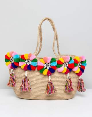 America & Beyond Multicolor Pom Pom Structured Beach Bag
