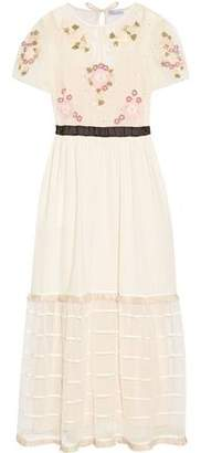 RED Valentino Floral-Appliquéd Point D'esprit Tulle And Cotton-Voile Maxi Dress