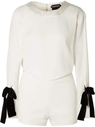 bd1c44790f3 Tom Ford Velvet Bow-embellished Draped Crepe Playsuit - White
