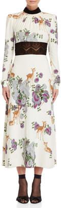 Giamba Printed Lace Trim Gown
