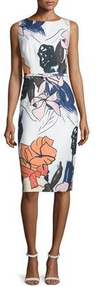 David Meister Sleeveless Floral-Print Belted Sheath Dress $395 thestylecure.com