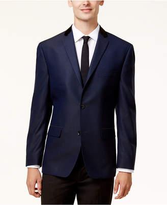 Alfani Men's Slim-Fit Blue & Black Mini-Grid Evening Jacket, Created for Macy's