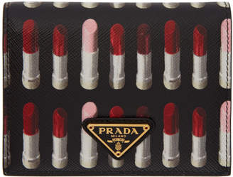 Prada (プラダ) - Prada ブラック サフィアーノ リップスティック フレンチ ウォレット