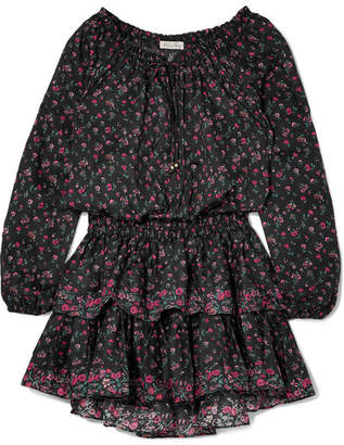 LoveShackFancy Popover Ruffled Floral-print Cotton Mini Dress - Black