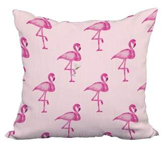 Simply Daisy 22 x 22 Inch Flamingo Fanfare Martini Pink Tropical Print Decorative Polyester Throw Pillow with Linen Texture