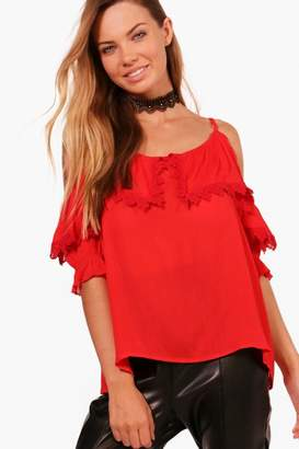 boohoo Holly Cold Shoulder Lace Cami