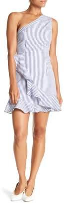 Do & Be Do + Be One Shoulder Ruffled Stripe Dress