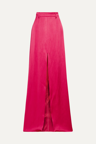 Prada - Satin Maxi Skirt - Red