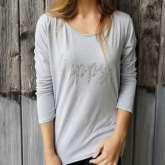 Luella Happy Cotton Long Sleeve T-Shirt by GREY - White/Silver