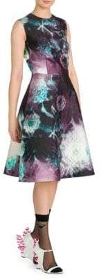 Prada Cloque Printed Full Skirt Dress