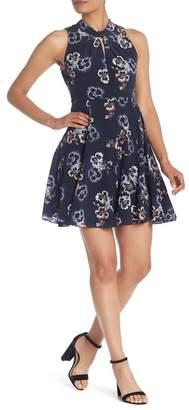 Rebecca Taylor Floral Keyhole Silk A-Line Dress