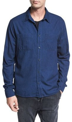 Vince Two-Pocket Denim Shirt, Resin Rinse Blue $225 thestylecure.com