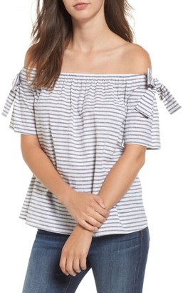 Women's Soprano Stripe Cotton & Linen Off The Shoulder Top $35 thestylecure.com