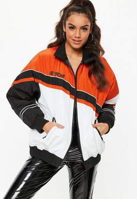 Missguided Orange Speed Racing Padded Windbreaker Jacket