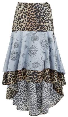 Ganni Leopard And Moon Print High Low Hem Cotton Skirt - Womens - Blue Multi