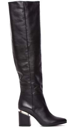 Vic Matié Black Leather Stove Pipe Boots With Suspended Heel