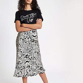 River Island Womens Black leopard print satin midi skirt