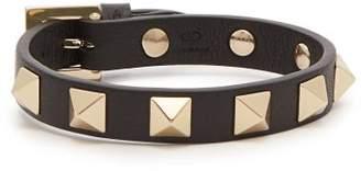 Valentino Rockstud Leather Bracelet - Womens - Black