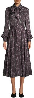 Co Tie-Collar Long-Sleeve Silk Midi Dress