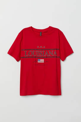 H&M T-shirt with Printed Design - Red