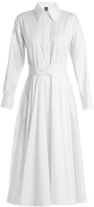 Norma Kamali Point-collar belted cotton-poplin dress