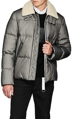 Helmut Lang Men's Shearling-Trimmed Tulle-Overlay Canvas Puffer Jacket