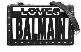 Balmain Black And White Loves Shoulder Bag.