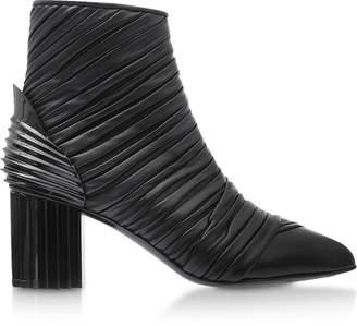 Balmain Ilma Black Pleated Leather Heel Booties