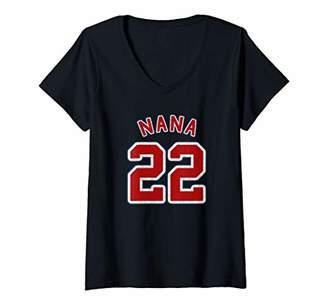 Womens Retro Style Grandma Sports Gift Nana Of 22 V-Neck T-Shirt