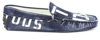 Tod's Gommino Moccasins In Blue Denim Leather