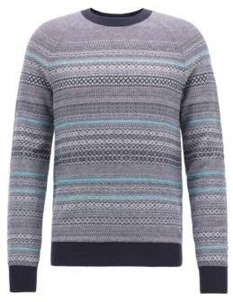 BOSS Hugo Crew-neck sweater in three-color cotton-blend jacquard S Dark Blue