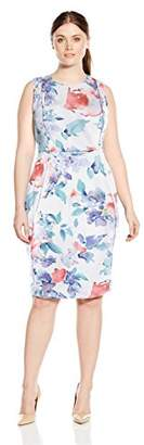 Calvin Klein Women's Plus Size Scuba Princess Seamed Sleeveless Sheath Dress