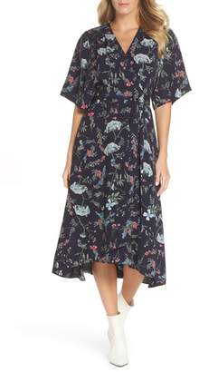 Tahari Floral Print Faux Wrap Midi Dress