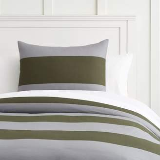 Pottery Barn Teen Bold Rugby Stripe Duvet Cover, Full/Queen, Moss Green/Gray