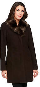Dennis Basso Faux Wool Coat with Removable FauxFox Fur Collar