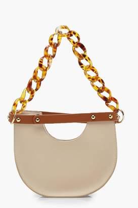 boohoo Resin Chain Handle Half Moon Clutch Bag