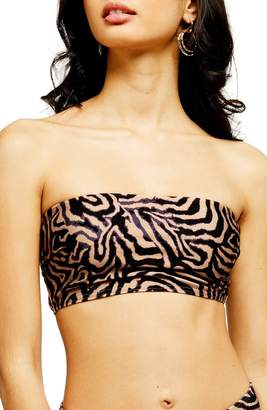 Topshop Tiger Print Bandeau Bikini Top
