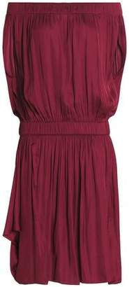 Halston Off-The-Shoulder Gathered Sateen Dress