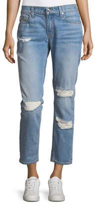 Derek Lam 10 Crosby Mila Mid-Rise Slim Girlfriend Jeans w/ Distressing