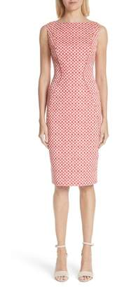 Lela Rose Polka Dot Stretch Jacquard Sheath Dress