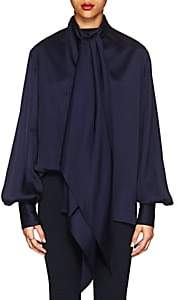 The Row Women's Asta Polished Twill Tieneck Blouse - Midnight Blue