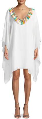 Badgley Mischka Fringe Pompom V-Neck Caftan Dress