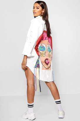 boohoo Tara Embellished Motif Longline Denim Jacket
