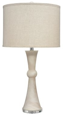 Jamie Young Company Commonwealth Table Lamp in White Faux Alabaster with Classic Drum Shade in Natural Linen Company