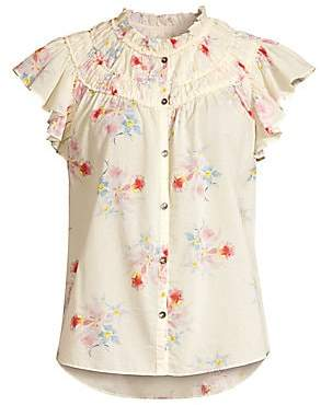 Rebecca Taylor Women's Catrine Floral Ruffle Sleeve Blouse