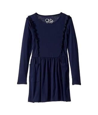 Chaser Baby Rib Long Sleeve Ruffle Dress w/ Pockets (Little Kids/Big Kids)
