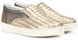 Bottega Veneta Metallic leather sneakers