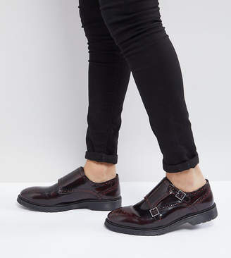 Asos Wide Fit Monk Shoes In Burgundy Leather
