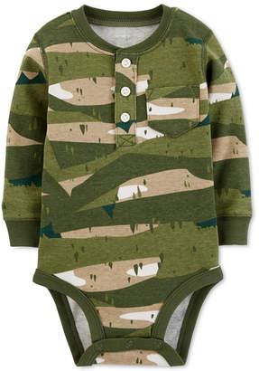 Carter's Baby Boys Camo-Print Cotton Henley Bodysuit