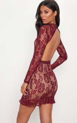 PrettyLittleThing Burgundy Lace High Neck Open Back Bodycon Dress